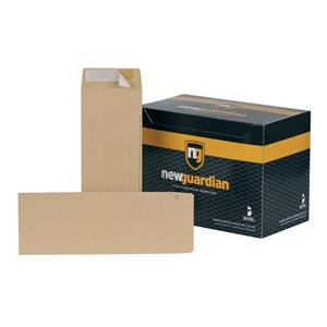 New Guardian (305 x 127mm) Heavyweight Pocket Peel and Seal Envelopes (130gsm) Manilla (Pack 250)